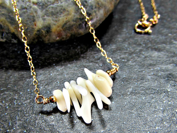 White Coral Branch Necklace- Sterling Silver, 14K Gold Filled or 14K Rose Gold Fill- Beach Jewelry