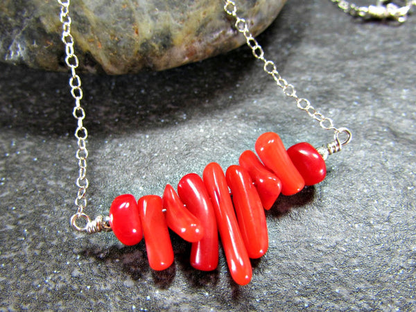 Red Coral Branch Necklace- Sterling Silver, 14K Gold Filled or 14K Rose Gold Fill- Beach Jewelry