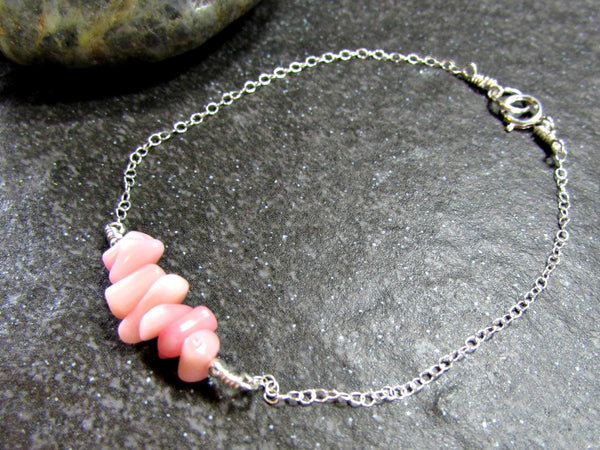 Pink Coral Branch Bracelet- Sterling Silver, 14K Gold Filled or 14K Rose Gold Fill- Beach Jewelry