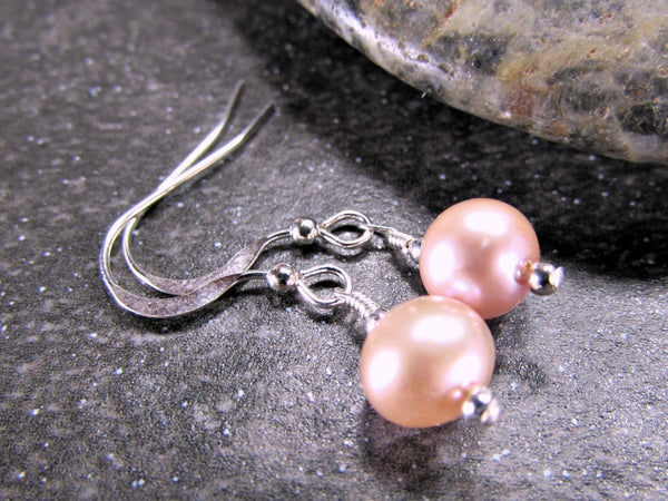Pink Pearl Earrings- Freshwater Drops- Sterling Silver, 14K Gold Filled, 14K Rose Gold Fill, Solid 14K Gold- Bridal Jewelry Bridesmaid Gift