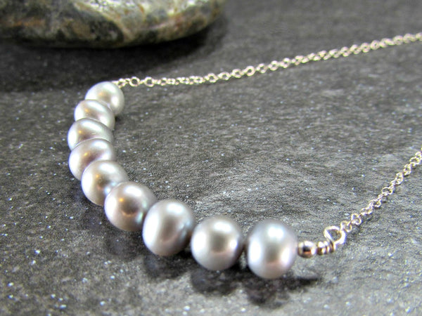 Gray Pearl Necklace, Sterling Silver Necklace, Freshwater Pearl Bar Necklace, Pearl Bridesmaid Necklace, Beach Jewelry, Girlfriend Gift