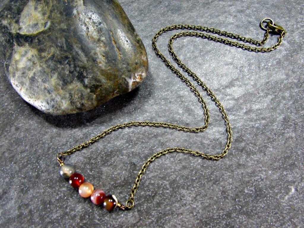 Mens Earthy Agate Bead Necklace