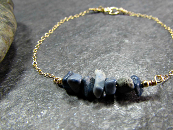 Blue Fossil Coral Bracelet- Sterling Silver, 14K Gold Filled or 14k Rose Gold Fill- Beach Jewelry