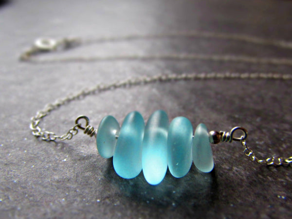Aqua Sea Glass Bead Necklace