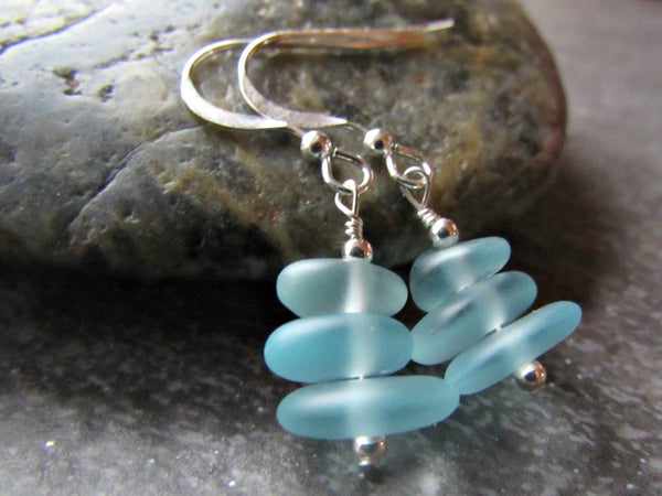Aqua Blue Sea Glass Bead Earrings