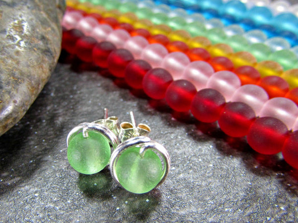 Sea Glass Stud Earrings- Custom Colors- Wire Wrapped Jewelry