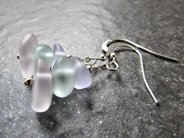 Pastel Sea Glass Earrings in Sterling Silver, 14K Yellow Gold Filled or Rose Gold Filled- Beach Glass Jewelry- Ocean Gift- Coastal Jewelry