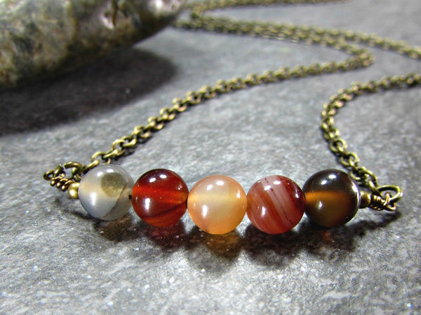 Mens Agate Necklace with Oxidized Brass Chain- Unisex Mens Jewelry- Guy Boyfriend Gift- Fathers Day Gift from Wife Girlfriend