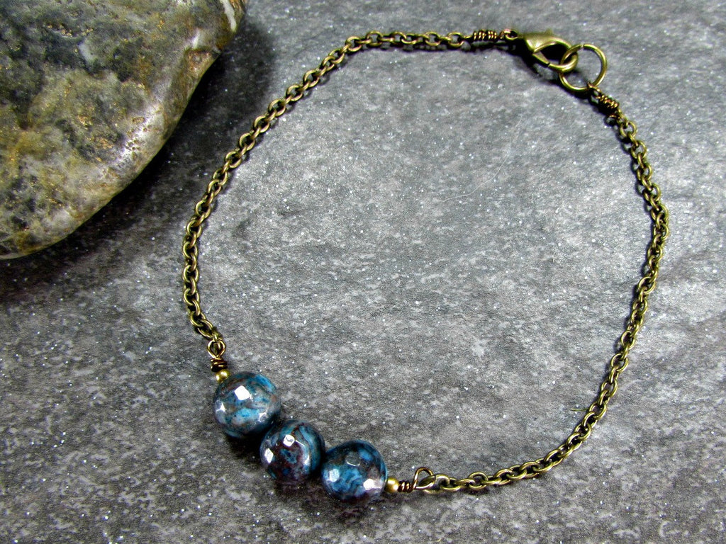Mens Blue Crazy Lace Agate Bracelet