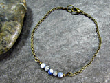 Mens Sodalite Bracelet with Oxidized Brass Chain- Unisex Mens Jewelry- Guy Boyfriend Gift- Fathers Day Gift from Wife Girlfriend