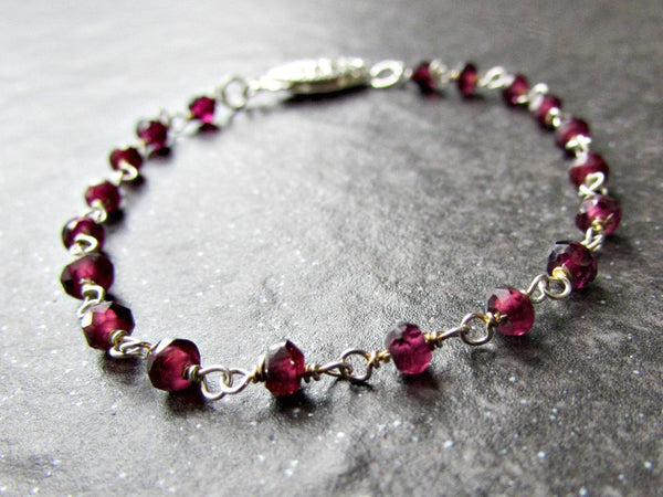 Garnet Bracelet with Sterling Silver Rosary Chain- Wire Wrapped Jewelry- January Birthstone Jewelry- Birthday Gift for Wife Women Her