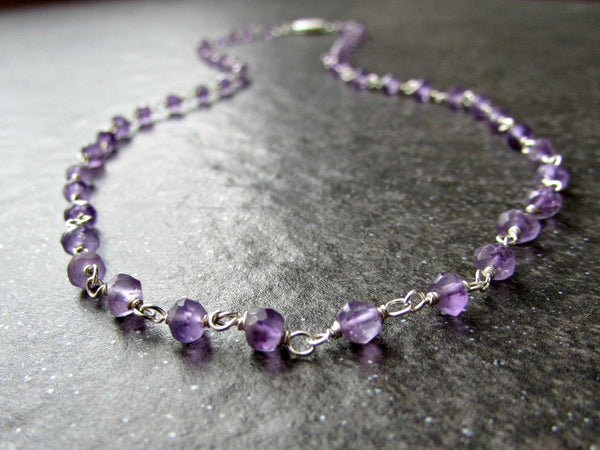 Custom Length Amethyst Crystal Necklace