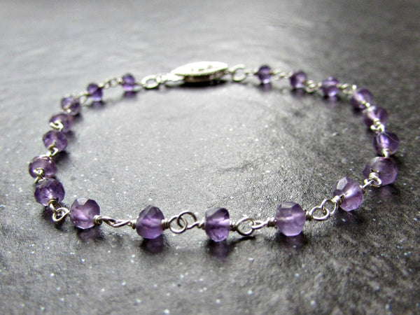 Amethyst Bracelet- Sterling Silver Wire Wrapped- February Birthstone Jewelry