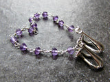 Amethyst Sweater Clip- Sterling Silver Wire Wrapped- February Birthstone Jewelry