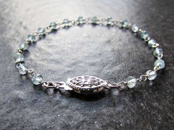 Aquamarine Bracelet with Sterling Silver Rosary Chain- Wire Wrapped Jewelry- March Birthstone Jewelry- Birthday Gift for Wife Women Her