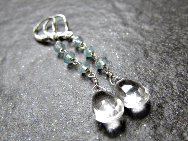 Long Aquamarine Earrings with Quartz Drops and Sterling Silver Leverbacks- March Birthstone Gemstone Jewelry- Birthday Gift for Wife Women