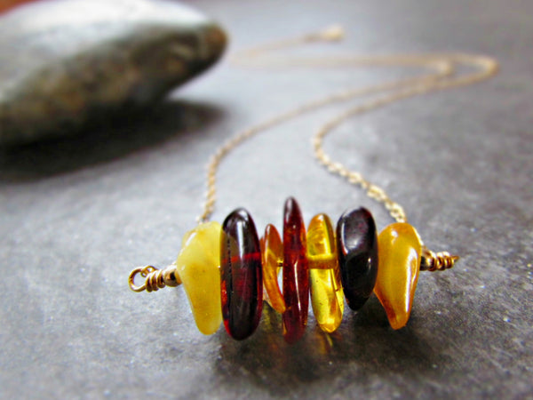 Baltic Amber Necklace for Adults in Sterling Silver, 14K Yellow Gold Filled or Rose Gold Filled