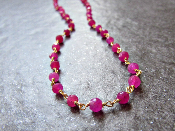Long Ruby Necklace with 14K Gold Filled Rosary Chain- Wire Wrapped Gemstone Jewelry - July Birthstone Jewelry - Birthday Gift for Women