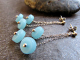 Aqua Blue Sea Glass Disk Chandelier Earrings