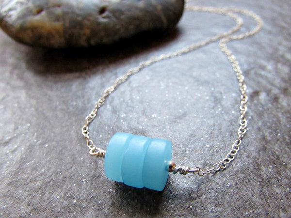 Aqua Blue Sea Glass Disk Bead Necklace- Sterling Silver, 14K Gold Filled or Rose Gold Filled- Beach Glass Jewelry