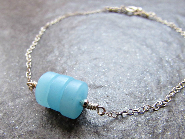 Aqua Blue Sea Glass Disk Bead Bracelet- Sterling Silver, 14K Yellow Gold Fill or Rose Gold Fill- Beach Glass Jewelry