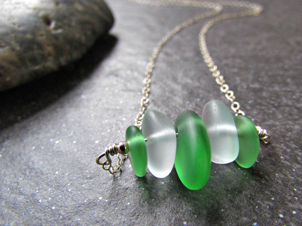 Green Sea Glass Bead Necklace