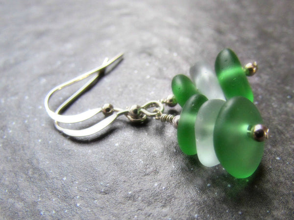 Green Sea Glass Bead Earrings
