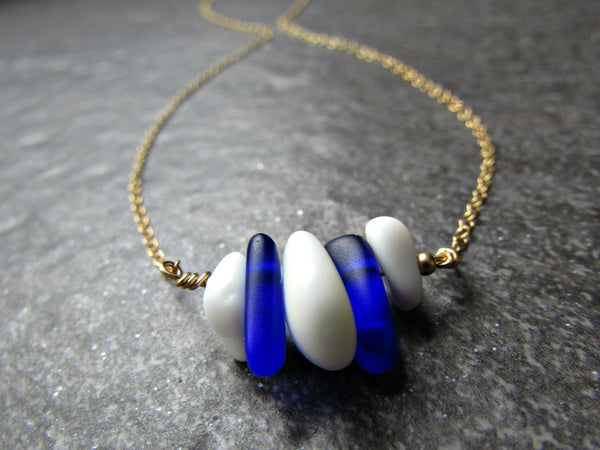Blue and White Sea Glass Nugget Bead Necklace- Sterling Silver, 14K Yellow Gold Filled or Rose Gold Filled- Penn State Jewelry