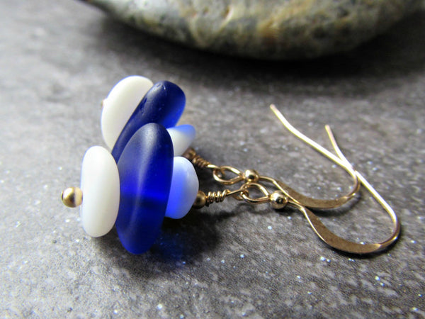 Blue and White Sea Glass Bead Earrings