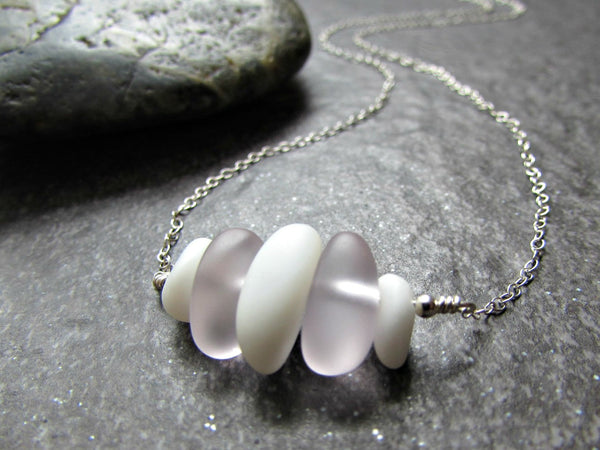 Pink and White Sea Glass Necklace in Sterling Silver, 14K Yellow Gold Filled or Rose Gold Filled- Beach Glass- Ocean Gifts- Coastal Jewelry