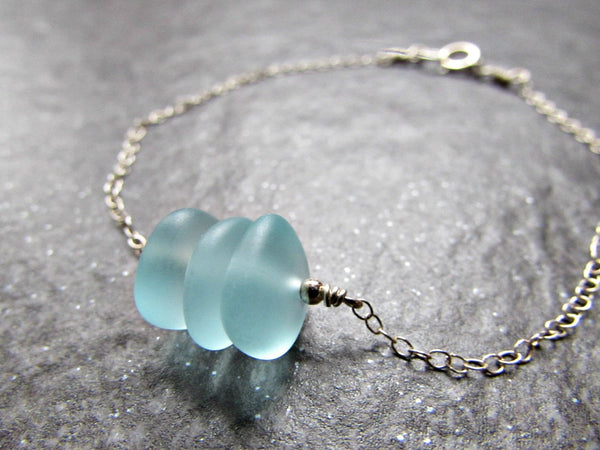 Aqua Blue Sea Glass Bead Bracelet