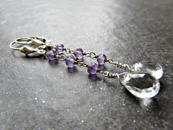 Long Amethyst Earrings with Quartz Drops and Sterling Silver Leverbacks- February Birthstone Gemstone Jewelry- Valentines Day Gift for Her