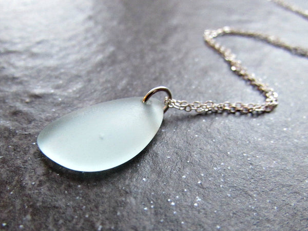 Mint Green Sea Glass Pendant Necklace