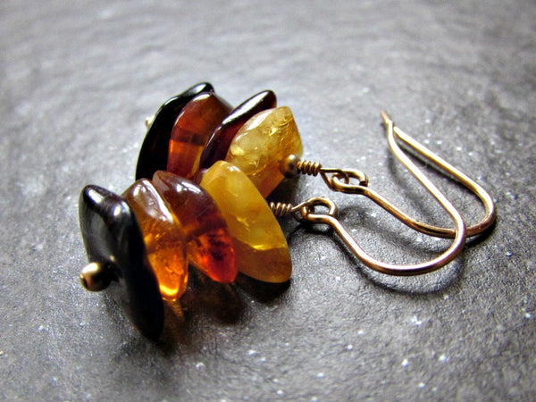 Baltic Amber Earrings, Natural Amber Nuggets, Honey Butterscotch Amber, Amber Dangle Earrings, 14K Gold Filled, Natural Artisan Jewelry
