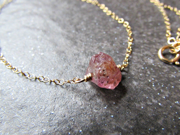 Raw Pink Sapphire Necklace