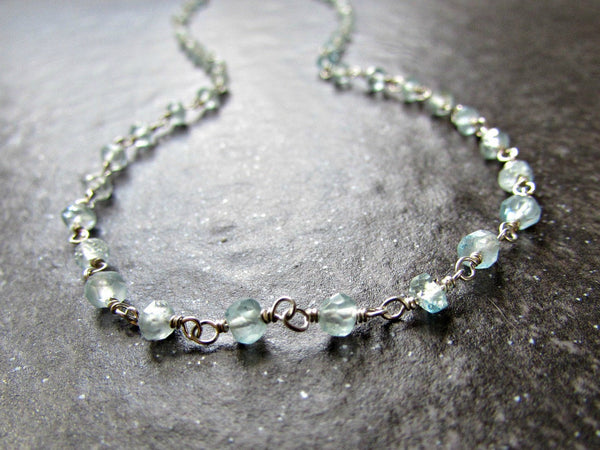 Long Aquamarine Necklace with Sterling Silver Rosary Chain- Wire Wrapped Jewelry- March Birthstone Jewelry- Birthday Gift for Women