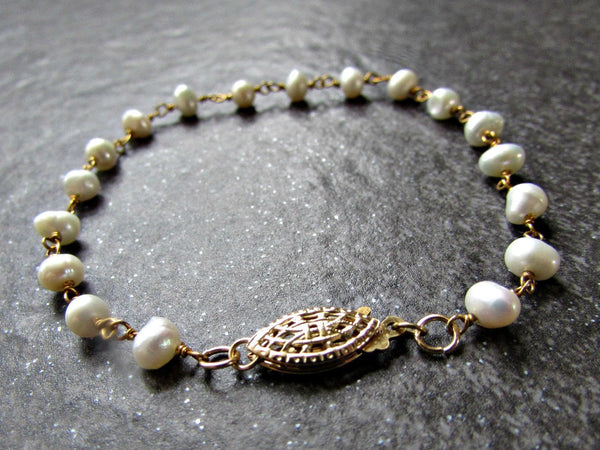 Freshwater Pearl Bracelet in Sterling Silver or 14K Gold Filled-  Wire Wrapped Jewelry- June Birthstone- Bridesmaid Wedding Bridal Jewelry