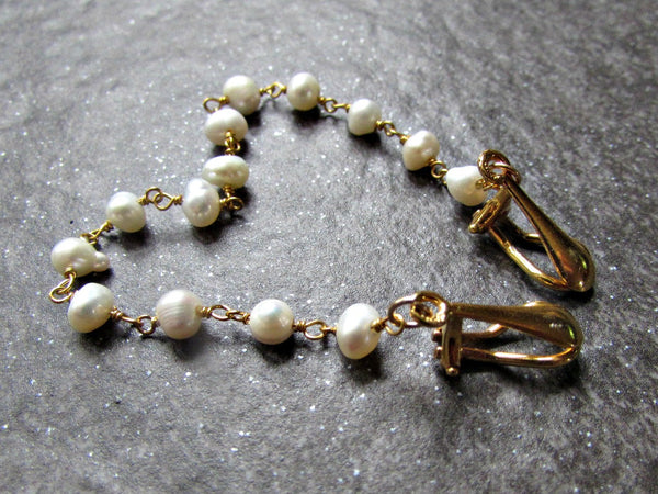 Freshwater Pearl Sweater Clip, Sterling Silver or 14K Gold Filled, Sweater Guard Clasp / Cardigan Shawl Collar Clip, June Birthstone Jewelry