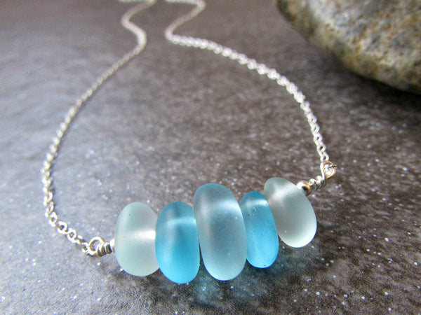 Blue Beach Glass Bead Necklace