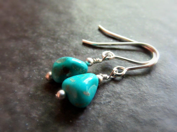 Genuine Natural Turquoise Dangle Earrings