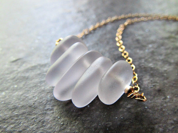 Purple Sea Glass Necklace in Sterling Silver, 14K Gold Filled or Rose Gold Fill- Beach Glass Jewelry- Ocean Gifts- Coastal Sea Glass Jewelry