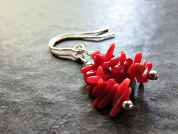 Red Coral Branch Earrings- Sterling Silver, 14K Gold Filled or 14K Rose Gold Fill- Beach Jewelry