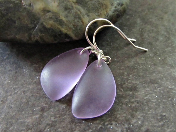 Purple Sea Glass Drop Earrings