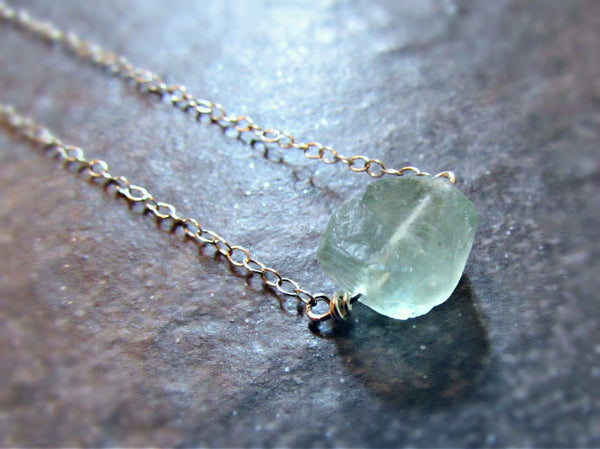 Raw Fluorite Crystal Necklace