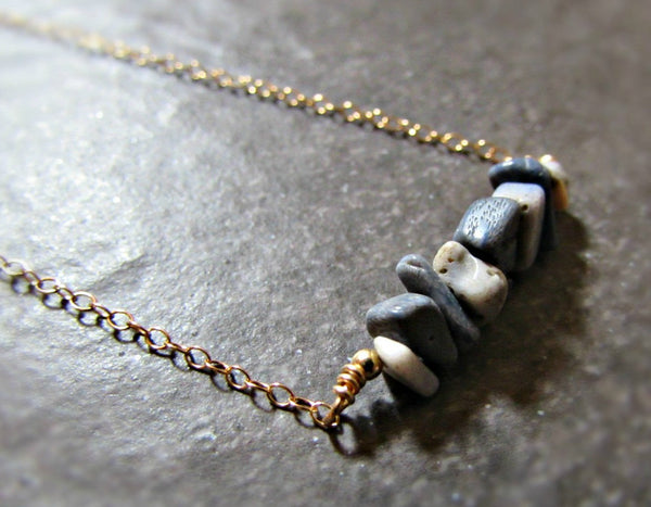 Blue Fossil Coral Necklace- Sterling Silver, 14K Gold Filled or 14K Rose Gold Fill- Beach Jewelry