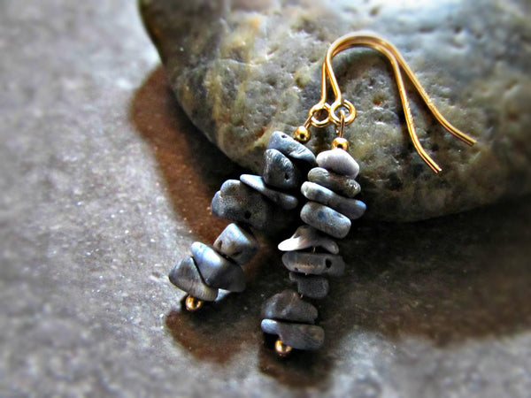 Blue Fossil Coral Earrings- Sterling Silver, 14K Gold Filled or 14K Rose Gold Fill- Beach Jewelry