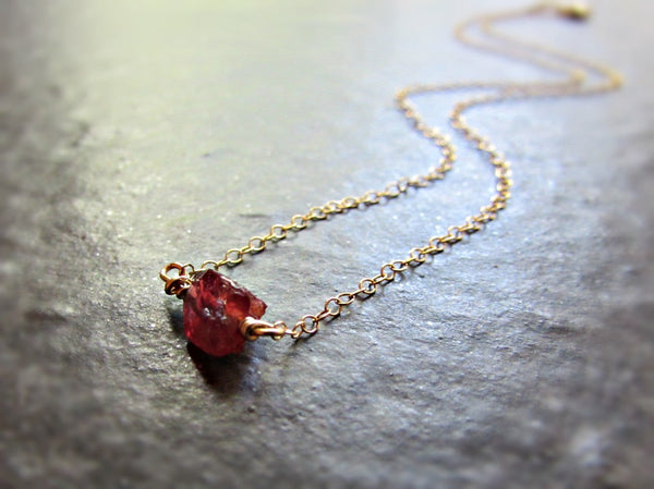 Red Raw Garnet Crystal Necklace