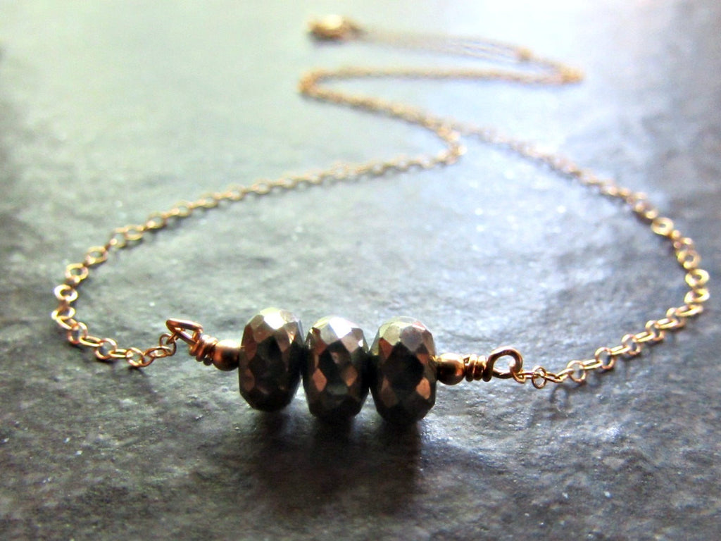Pyrite Faceted Gemstone Bead Necklace