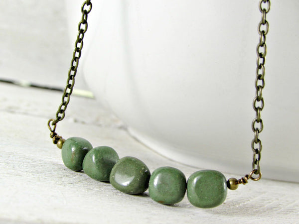 Green Jasper Necklace with Oxidized Brass Chain- Unisex Mens Jewelry- Guy Boyfriend Gift- Fathers Day Gift from Wife Girlfriend
