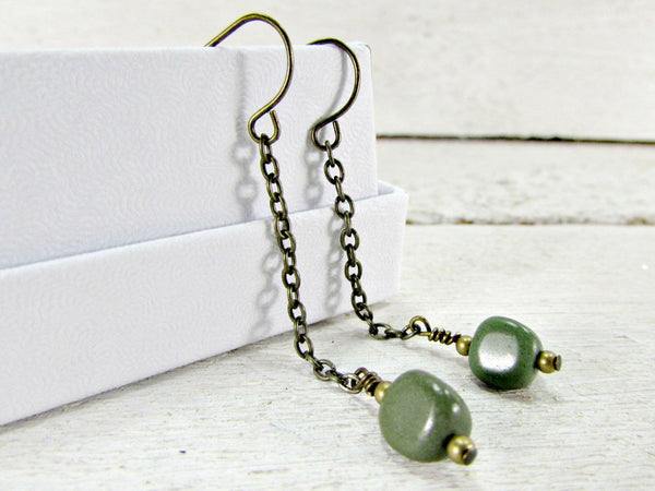 Green Jasper Gemstone Earrings